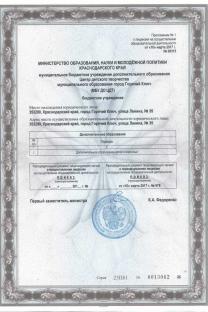 Приложение к лицензии МБУ ДО ЦДТ